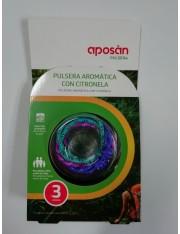 APOSAN PULSERAS AROMATICAS CITRONELA 3 UNIDADES