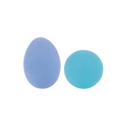 Ejercitador rehabilitacion manos dedos brazos muñecas oval suave azul maf
