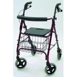 Andador rollator aluminio 4 ruedas -asiento ad150