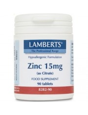 Zinc 15 mg como citrato 90 tabletas(minerales) lamberts