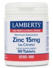Zinc 15 mg como citrato 180 tabletas (minerales) lamberts