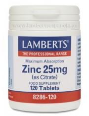 Zinc 25 mg como citrato 120 tabletas (minerales) lamberts