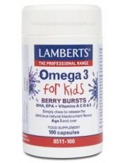 Omega 3 para niños (dha,epa+vit.a,c,d,e) masticable sabor frutos del bosque 100 capsulas lamberts
