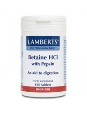 Betaina hci 324 mg/pepsina 5 mg. 180 tabletas (ayuda disgestiva) lamberts