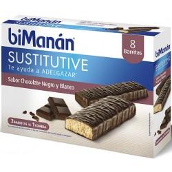 Bimanan barritas chocolate negro y blanco 40 g 8 barritas
