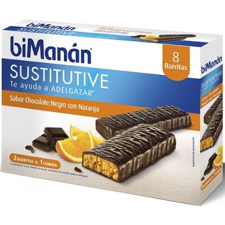 Bimanan barritas chocolate negro y naranja 40 g 8 barritas
