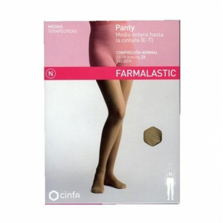 Panty compresion normal 140 farmalastic beige t- rp (tobillo 28-29 cm,pantorrilla 44-46 cm) cinfa