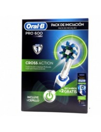 PACK INICIACION ORAL B PRO 600 CROSS ACTION CEPILLO DIENTES ELECTRICO + 2 RECAMBIOS GRATIS
