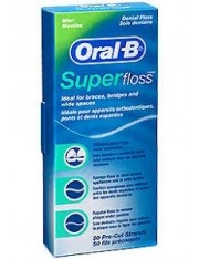 SEDA DENTAL SUPERFLOSS 50 HEBRAS PRECORTADAS